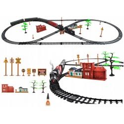 Kolejka elektryczna pociąg ciuchcia dym wagony duży tor 700cm torów