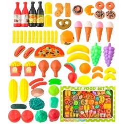 Sztuczne warzywa owoce plastikowe zabawki artykuły spożywcze 90 części