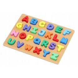 Drewniany alfabet i tarcza podstawa kolorowe klocki do układania literki