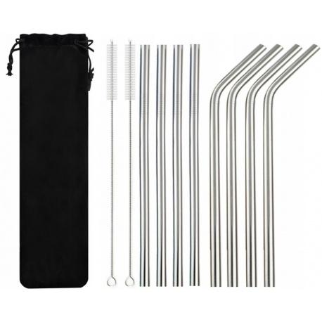 Ekologiczne słomki metalowe rurki 8 sztuk wielorazowe czyścik wyciory