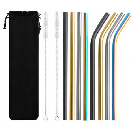 Ekologiczne słomki metalowe kolorowe 8 sztuk wielorazowe czyścik wyciory