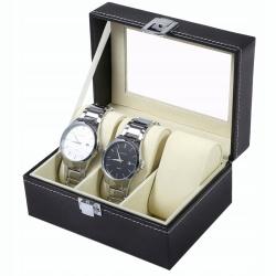 Organizer elegancka kasetka na zegarki biżuterię szkatułka 3 przegrody