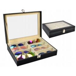 Organizer elegancka kasetka pudełko etui na okulary biżuterię 8 przegródek