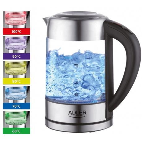 Czajnik z regulacją temperatury szklany pogrzewanie wody Adler AD 1247