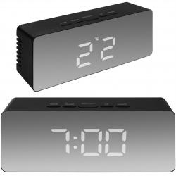 Lustrzany zegar budzik z wyświetlaczem LED termometr budzik lusterko