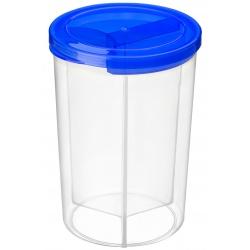 Pojemnik na jedzenie plastikowy okrągły zamykany przegrody 3w1