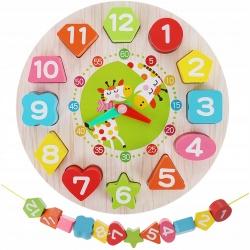 Sorter drewniany zegar układanka dla dzieci koraliki do nawlekania 2w1