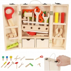 Drewniane narzędzia dla dzieci skrzynka z narzędziami do zabawy