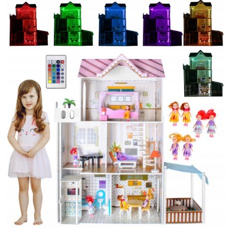 Drewniany domek dla lalek zabawki willa mebelki 120cm światło LED