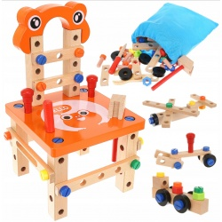 Warsztat drewniany narzędzia dla dzieci krzesło do zbudowania śruby nakrętki