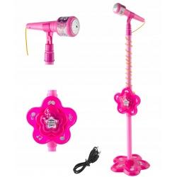 Mikrofon dla dzieci do śpiewania KARAOKE stojący statyw MP3 głośniki
