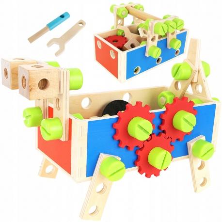 Warsztat skrzynka zabawkowy drewniany do zbudwania śruby nakrętki