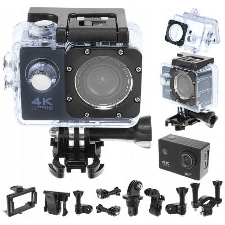 Kamera sportowa 4K WiFi wododporna obudowa uchwyty karta pamięci 32GB