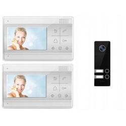 Wideodomofon dwurodzinny z kamerą na podczerwień i 2 odbiornikami LCD 4.3 cali Reer Electronics