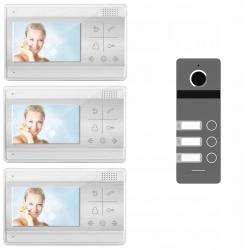 Wideodomofon trzyrodzinny z kolorową kamerą i 3 odbiornikami LCD 4.3 cali Reer Electronics