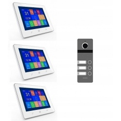 Wideodomofon trójrodzinny z kamerą na podczerwień i 3 odbiornikami LCD 9 cali dotykowy ekran Reer Electronics