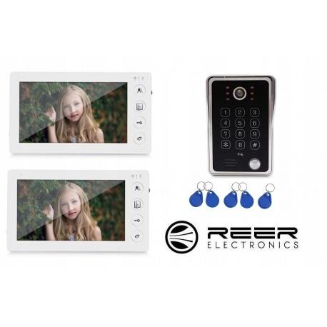 Wideodomofon Reer Electronics 2 panel LCD 7 cali 1 kamera otwieraniem furtki lub bramy pastylkami kod dostępu