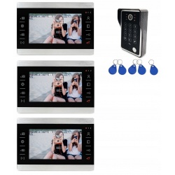 Videodomofon 3 x panel LCD 7 cali kamera Reer Electronics otwieraniem furtki bramy kodem pastylkami