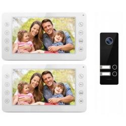 Videodomofon wielorodzinny 2 ekrany lcd 7 cali Reer Electronics kamera w zestawie sterowanie elektrozamkiem furtki