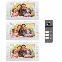 Videodomofon wielorodzinny 3 ekrany lcd 7 cali Reer Electronics kamera w zestawie sterowanie elektrozamkiem furtki