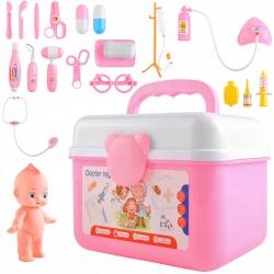 Zestaw mały doktor dla dzieci lekarza w walizce kuferek lalka