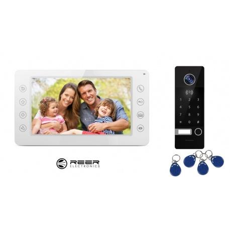 Wideodomofon z kamerą LCD 7 cali Reer Electronics R8 sterowanie bramą szyfrator pastylki kodowe rejestrowanie zdjęć i filmów