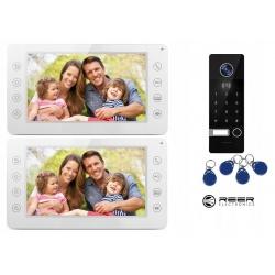 Wideodomofon z kamerą 2 x LCD 7 cali Reer Electronics R8 sterowanie bramą szyfrator pastylki kodowe rejestrowanie zdjęć i filmów