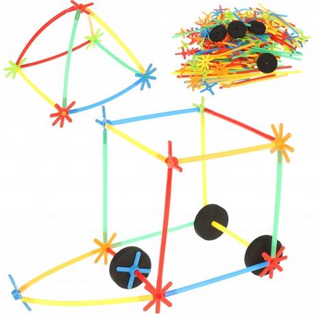 Klocki dla dzieci konstrukcyjne słomki łączniki patyczki 238 do składania