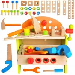 Warsztat stół skrzynka zabawkowy drewniany do zbudwania narzędzia dla chłopców