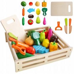 Sztuczne drewniane warzywa owoce do krojenia na magnes deska i nóż dla dzieci