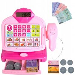 Różowa kasa sklepowa dla dzieci kalkulator pieniądze skaner zabawa w sklep