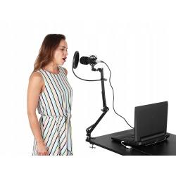 Mikrofon pojemnościowy studyjny statyw studio pop-filtr do biurka komputera