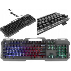 Klawiatura do grania komputera dla graczy gamingowa podświetlana LED
