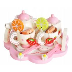 Zabawkowy serwis do herbaty drewniany dla dzieci filiżanki łyżeczki