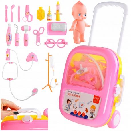Zestaw małego doktora lalka walizka na kółkach przenośny kroplówka