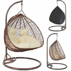 Fotel wiszący dwuosobowy podwójny kosz kula ogrodowy gniazdo z poduszkami