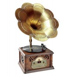 Gramofon z tubą Retro odtwarzacz CD kasety MP3 USB nagrywanie Hyundai drewno RTCC 411 RIP