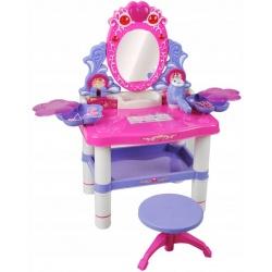 Toaletka dla dziewczynek zabawka z lustrem na baterie suszarka gumki do włosów taboret