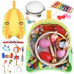 Drewniane instrumenty dla dzieci plecak kolorowe cymbałki trójkąt