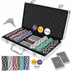 Zestaw do gry w pokera TEXAS żetony 300 sztuk karty mocna walizka