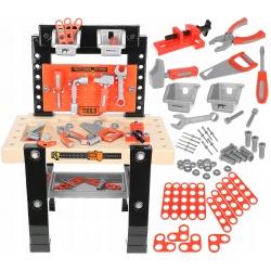 Warsztat dla chłopców 65 elementów stół plastikowe narzędzia śrubki
