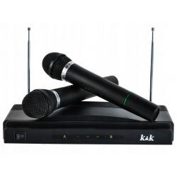Bezprzewodowe karaoke zestaw przenośny odbiornik i dwa mikrofony