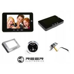 Wideo-wizjer marki REER ELECTRONICS z ekranem LCD 4,3 cala kamera 1,3 Mpix wbudowana bateria czujnik ruchu diody IR