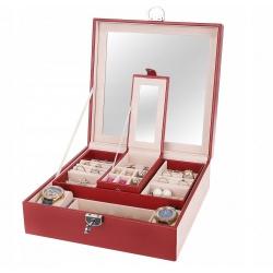 Piękny kuferek na biżuterię z lusterkiem szkatułka kolczyki pierścionki pudełko