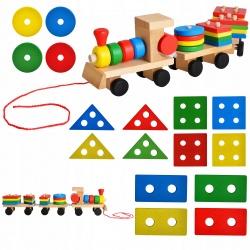 Pociąg drewniany sorter edukacyjny klocki XL kolejka do zbudowania