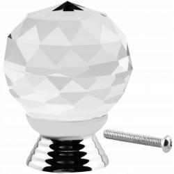 Gałka kryształowa uchwyt do mebli kula 30mm meblowy kryształ dwa kolory