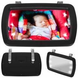 Lusterko z oświetleniem do obserwacji dziecka w samochodzinie aucie LED