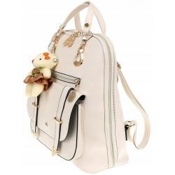 Stylowy plecak damski torebka 2w1 elegancki plecaczek eko skóra z misiem