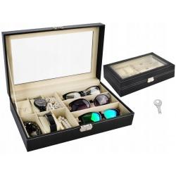Organizer elegancka kasetka 2w1 pudełko etui na okulary oraz zegarki