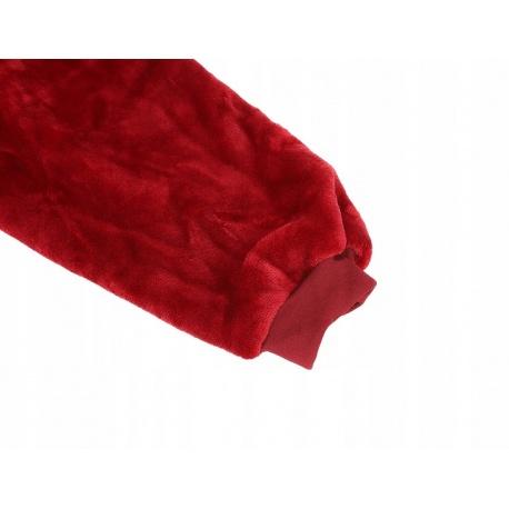 Ciepła bluza oversize XXL 2w1 koc włochacz Futrzak bordowa czarna uniseks